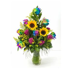 Rainbow arrangement with vase
