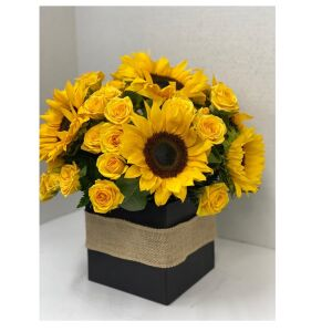 Sunflowers with mini roses