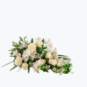 Funeral Bouquet with texted ribbon